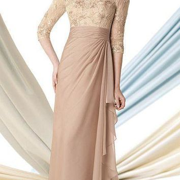 Montage by Mon Cheri - 213969 Long Dress In Light Taupe