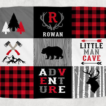 BUFFALO PLAID Blanket Pillow Set, Lumberjack Nursery Bedding, Buffalo Plaid Nursery Quilt, Baby Boy Name Blanket, Lumberjack Swaddle
