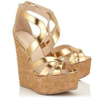 Jimmy Choo Women Fashion Platform Sandals Heels Wedge Shoes 4