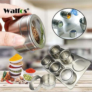 6 Pieces Magnetic Stainless Steel Cruet Condiment Spice Jars Set Salt and Pepper Shakers Seasoning Sprays Cooking Barbeque Tool