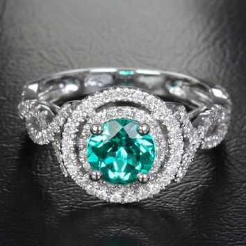 6.6mm Emerald 14K White Gold Pave .48ctw Diamonds Halo Engagement/Promise Ring