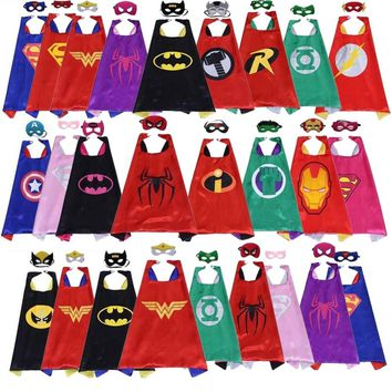 Cool Classic kids superhero capes with masks double layers batman cape for children birthday party halloween cosplay costumes 70*70cmAT_93_12
