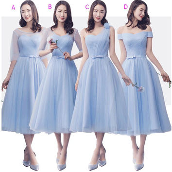 2017 New Blue Short Tea Length Cheap Bridesmaid Dresses Mix and Match  One Shoulder Tulle Country Wedding Party Dress Country