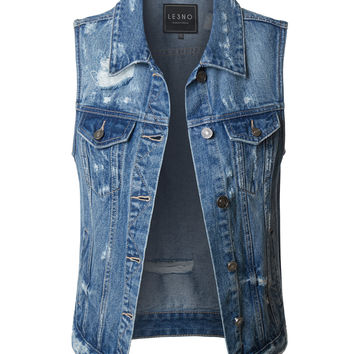 LE3NO Womens Vintage Distressed Ripped Sleeveless Denim Vest