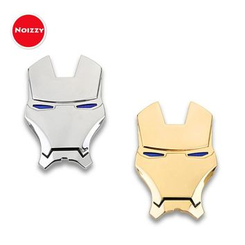 Noizzy Ironman Cartoon Marvel Car Auto Sticker Badge Emblem 100% 3D Metal Chrome Gold Automobile Motorcycle Tuning Car Styling