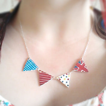 Bunting necklace, retro, flag olympic theme. Handmade kitsch Jewelry Britsh countryside style pendant