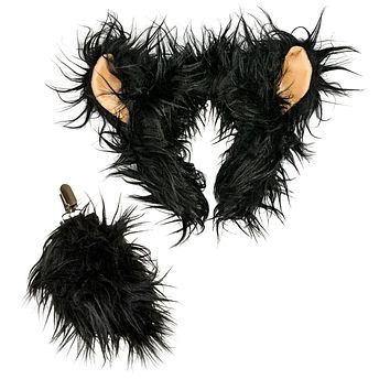 Plush Black Bear Ears Headband and Tail Set Black Bear Costume, Cosplay or Forest Animal Costumes