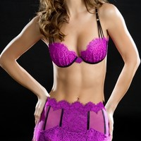 Scalloped Lace Demi Cup Bra and Gartini Set