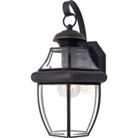 Shop Portfolio Brayden 14.13-in H Mystic Black Outdoor Wall Light at Lowes.com