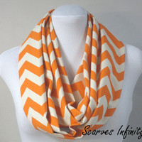 "Mandarin Orange Chevron Infinity Scarf  - Long Modern Circle Scarves - 7"" W  X  72"" L"