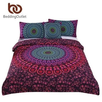 BeddingOutlet Bohemian Bedding Set Mandala Duvet Cover Set Posture Million Romantic Soft Bedclothes Queen Boho 4 Pieces Bed Set