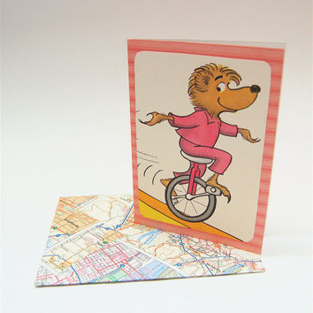 Sister Bear on Unicycle - Vintage Dr. Seuss Illustration Card