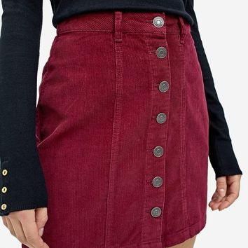 Corduroy skirt with buttons - null | Stradivarius Denmark