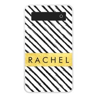 Black and White Stripes Faux Gold Foil Power Bank