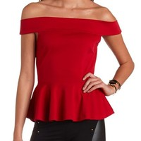 Off-the-Shoulder Ponte Peplum Top: Charlotte Russe