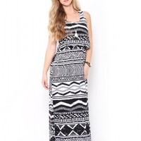 Pillow Top Aztec Maxi Dress