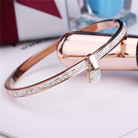 2016 New Fashion Stainless Steel Bangles Bracelet For Women 18K Gold Plated Rose Silver Color Key Charm Top Famous Brand Jewelry