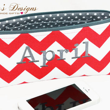 Red chevron and grey dots Makeup bag, Personalized Cosmetic Bag, Customize your own cosmetic bag, zipper clutch by Gisella's Designs