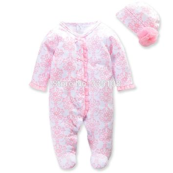 Princess Newborn Baby Girl Clothes Infant Body Suits Floral Romper & Hat Full Baby Jumpsuit for Spring Girls Clothing Set