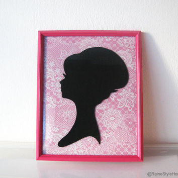 Framed Art. Black Lady Portrait On Pink Paisley Background. Fuchsia Frame. Shabby Chic