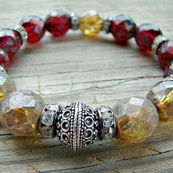 Stretch Bracelet, Boho Chic, Fire Polished Czech Glass, Clear Rhinestone, Silver Bead, Stacking Bracelet, Gypsy Jewelry, Beaded Jewelry