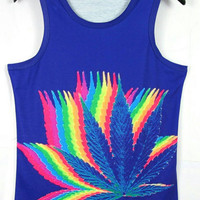 Trippy weed leaf women's tank top from Kno Idea Vintage & Custom