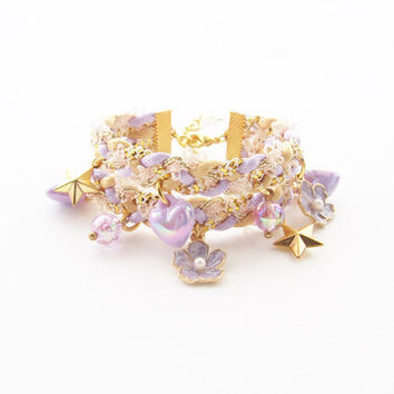 Flower girl bracelet - braided bracelet - lilac jewelry - kawaii bracelet - kawaii accessories - lolita accessories - fairy kei