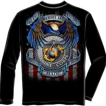 New MARINES SOME GAVE ALL LICENSED LONG SLEEVE T Shirt USMC USA