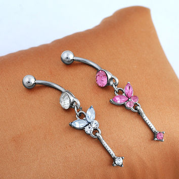 Stainless Steel Diamonds Butterfly Accessory Belly Ring [6768789767]