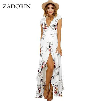 ZADORIN 2017 Hotsale Long Summer Beach Dress Women Sexy Deep V Floral Chiffon Maxi Dress Front Split Bohemian Dresses robe ete