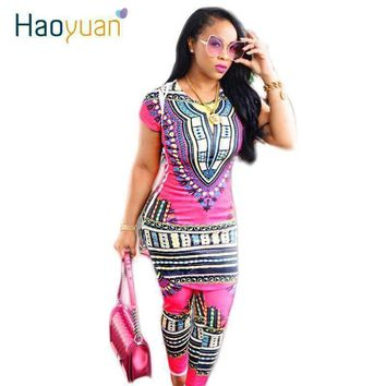 Dashiki Traditional African Clothing Two Piece Set Women Africaine Print Bodycon Dress+Pants