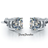 925 Silver Total 1 Ct (0.5 ct each) Round Cut Lab Made Diamond Studs, 4 Prongs Basket Set everyday earrings, with gift box ( FairyParadise )