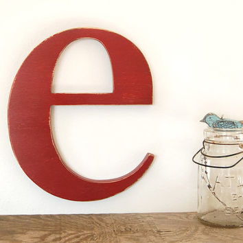 wood letters custom sign modern decor lowercase e typography - Red or You Choose Color