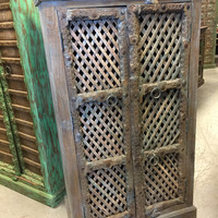 Antique Indian Blue Cabinet Latticed window Hand made Wooden Storage Vintage Furniture Distressed ECLECTIC FARMHOUSE COUNTRY Armoire