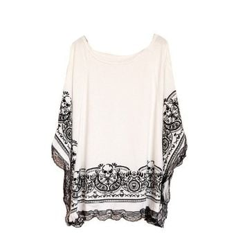 White Summer T Shirt Bat Sleeve Skull Pattern with Shoulder Hollow Blouses Plus Size Tops Women Casual Loose Clothes