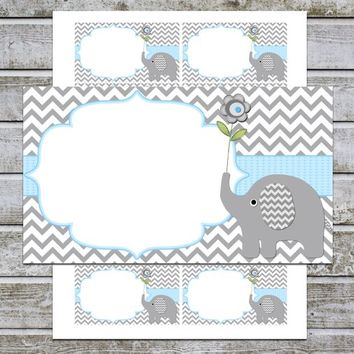 Blank Baby Shower Invitation Insert Cards | Thank You Notes Cards | Elephant Baby Shower Boy | Favor Tags Labels (49d) Instant Download