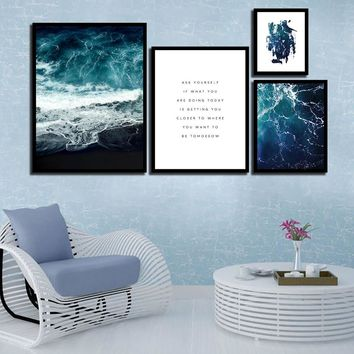 Minimalism Nordic Style Watercolor Scenery Seascape Poster Picture Print Painting HD Wall Art Canvas Kids Girl'S Room Decoration