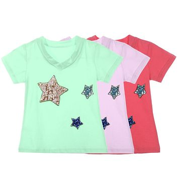 Kids Children Short Sleeve Sequin Star Patterns T-shirt Girls Summer Casual Tops Clothes
