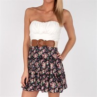BCX Juniors Belted Strapless Dress with Floral Skirt at Von Maur