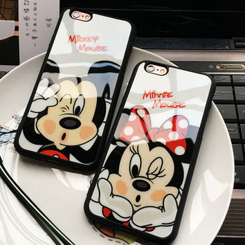 7 & 7 Plus 3D Cartoon Mickey Minnie kiss Glass Silicone Mirror Cases For iphone 5 5s SE 6 6s 6 Plus Back Cover Case For iphone