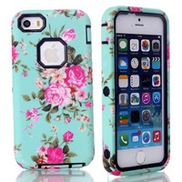 MagicSky Plastic + TPU Roses Flower Pattern Tuff Dual Layer Hybrid Armor Case for Apple iPhone 5C - 1 Pack - Retail Packaging - Black
