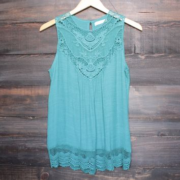 gypsy crochet lace gauzy sleeveless tank top in jade
