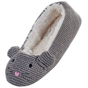 LA PLAGE Womens Winter Warm Plush Animal Home Slippers