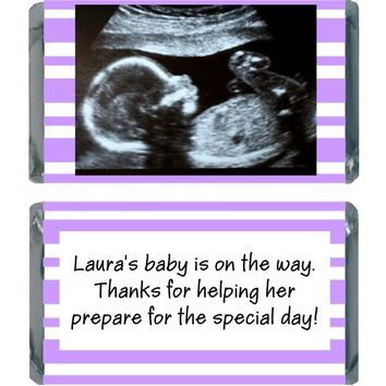 18 Add Your Sonogram Baby Shower Miniature Chocolate Bar Wrappers Purple