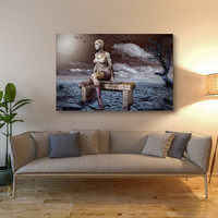 Woman Statue Gallery Wrapped Canvas Abstract Print