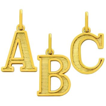 """.925 Sterling Silver Nickel Free Gold Plated Uppercase Initials """"""""I"""""""" Charm"""