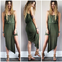 A Sassy Wrapped Lady Dress in Olive