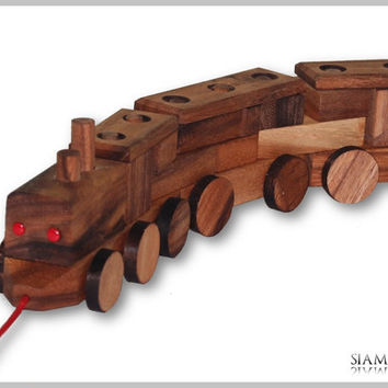Construction Train, Wooden train made with bricks and pull cord, Wooden Toys, Wooden Children's Toy, Train Game