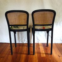 Pair Bentwood Bar Stools, Woven Rattan Backs, Coffee Bean Bag Seats, Vintage Thonet Prague Style Barstools