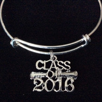 Class of 2016 Graduation Expandable Silver Charm Bangle Bracelet Trendy Gift